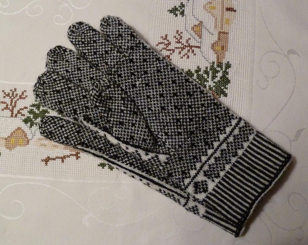 Gestrickte Fingerhandschuhe, Handfläche